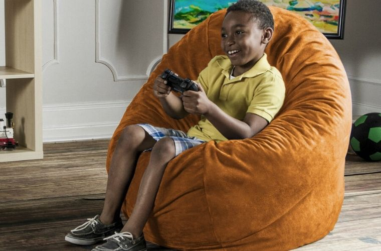 Orange Microsuede 4 Foot Jaxx Cocoon Bean Bag Chair