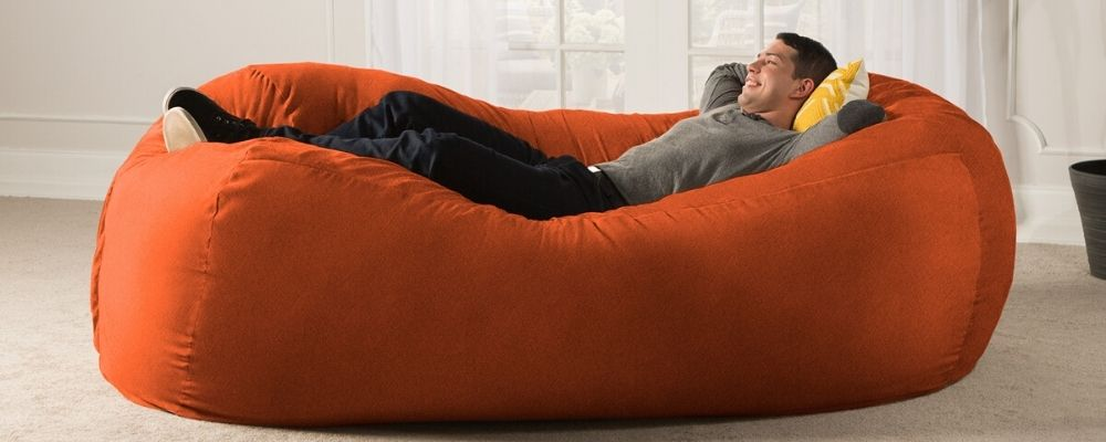 Orange Microsuede 7 Foot Jaxx Lounger Bean Bag
