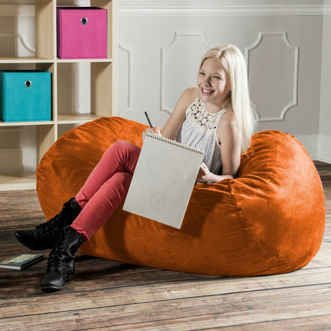 Orange Microsuede 4 Foot Jaxx Lounger Bean Bag Chair