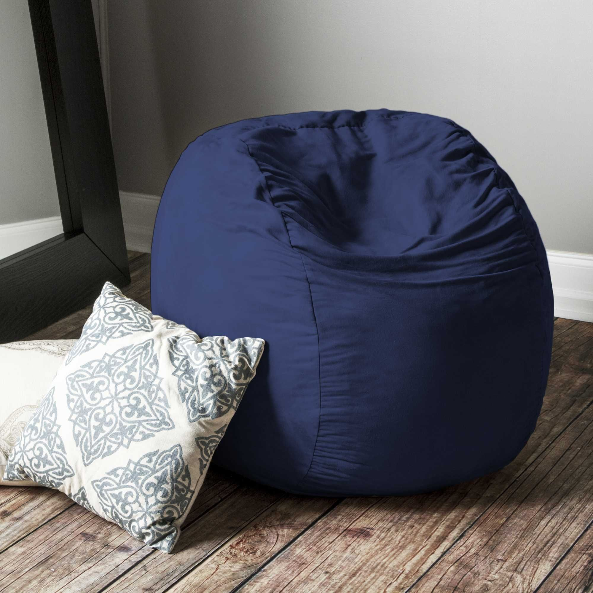 Navy Microsuede 3 Foot Jaxx Sac Bean Bag Chair