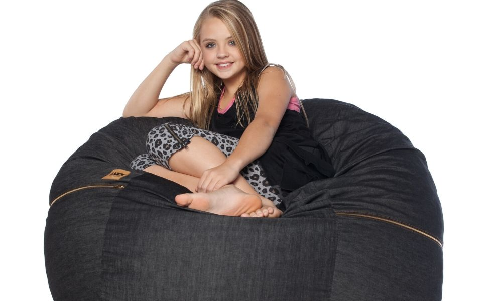 Black Denim 4 Foot Jaxx Sac Bean Bag Chair