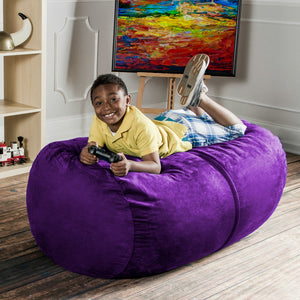 Grape Microsuede 4 Foot Jaxx Lounger Bean Bag Chair