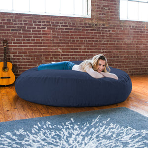 Navy Chenille 6 Foot Jaxx Cocoon Bean Bag Chair