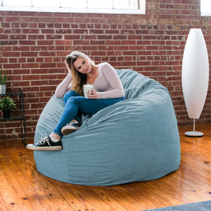 Turquoise Chenille 6 Foot Jaxx Cocoon Bean Bag Chair
