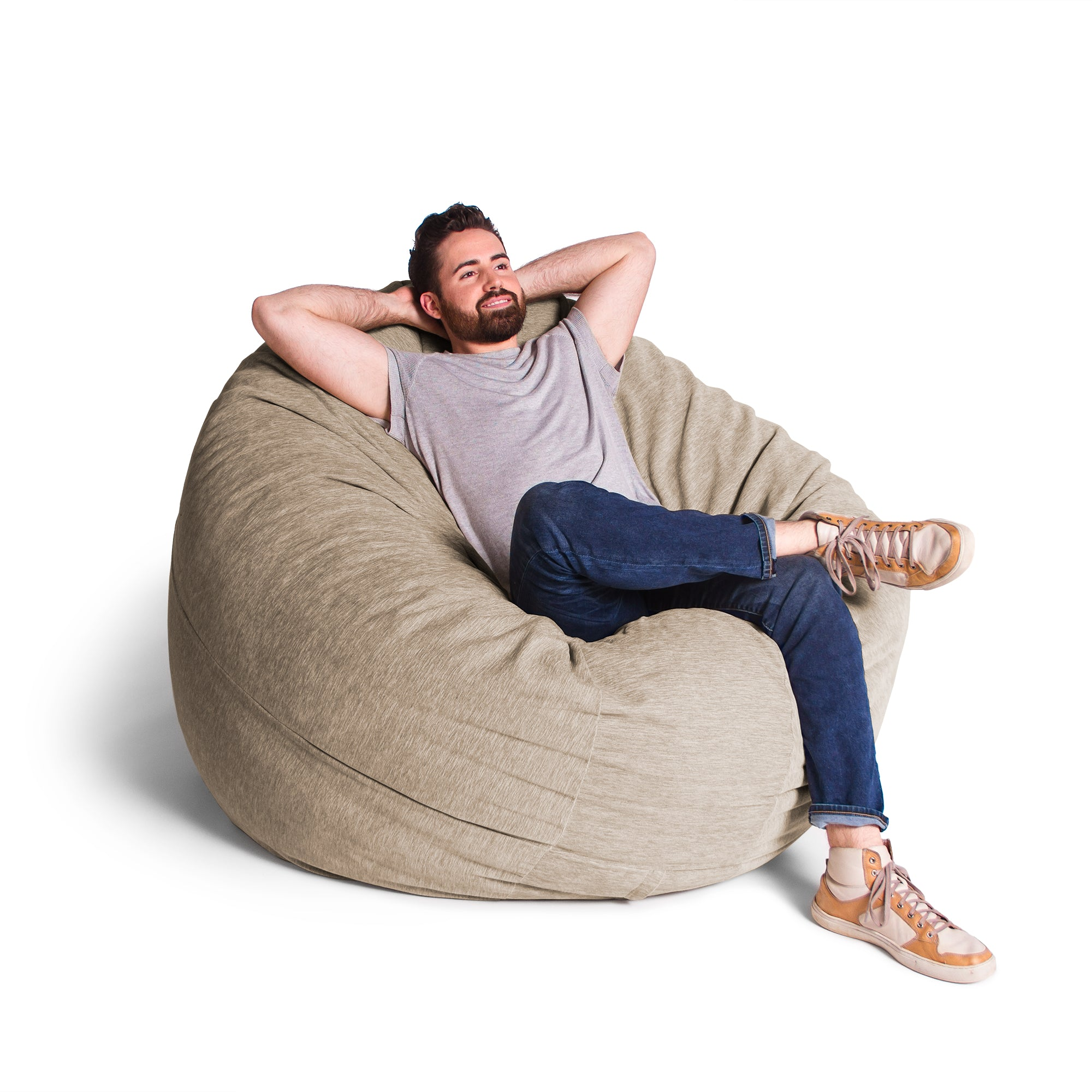 Beige Chenille 6 Foot Jaxx Cocoon Bean Bag Chair