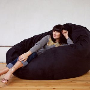 Black Microsuede 6 Foot Jaxx Cocoon Bean Bag Chair