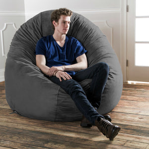 Charcoal Microsuede 6 Foot Jaxx Cocoon Bean Bag Chair