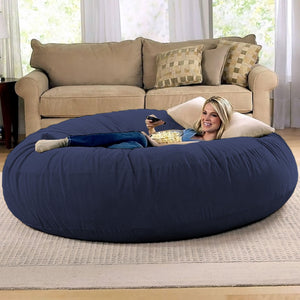 Navy Microsuede Navy Blue 6 Foot Jaxx Cocoon Bean Bag Chair
