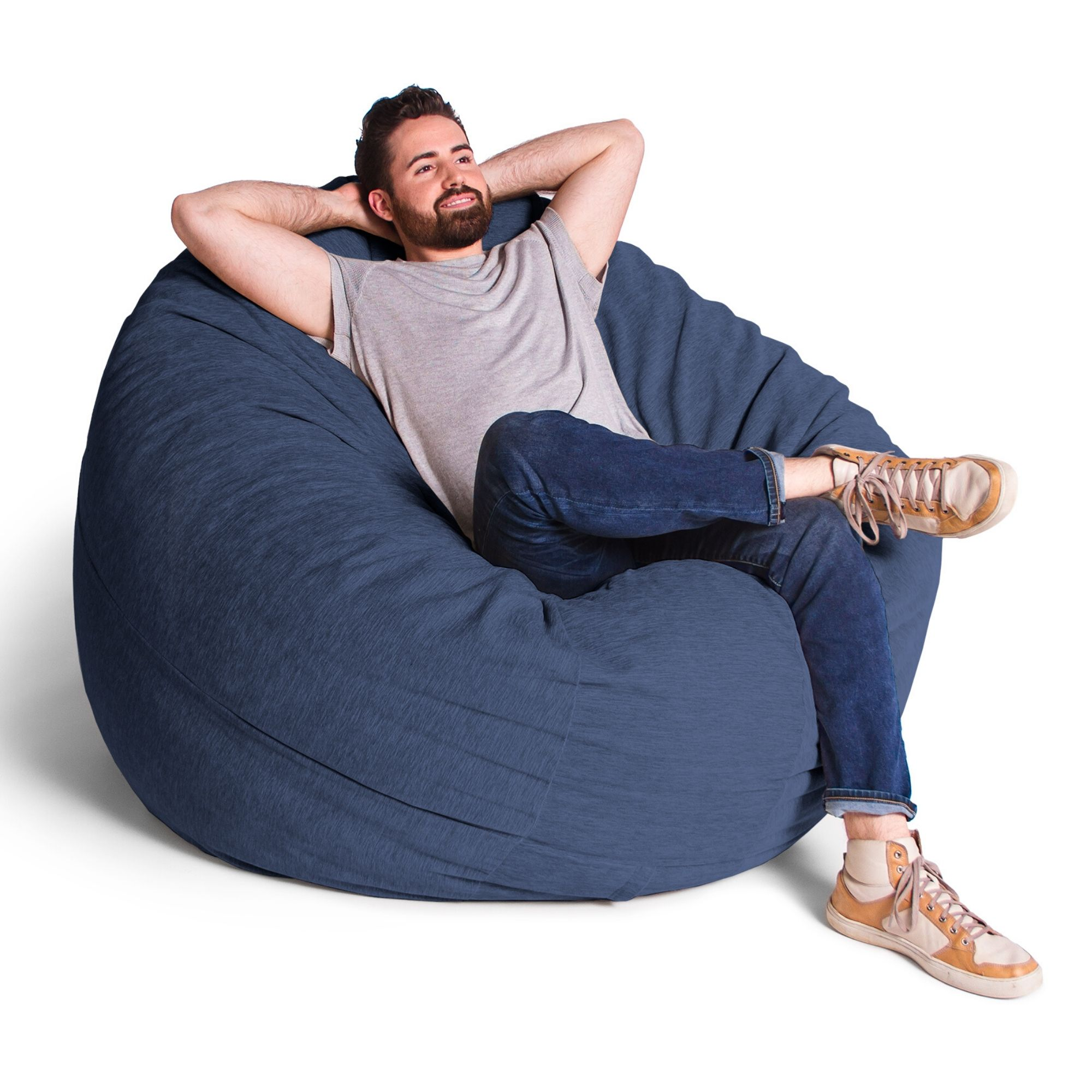 Navy Blue Chenille 6 Foot Jaxx Cocoon Bean Bag Chair