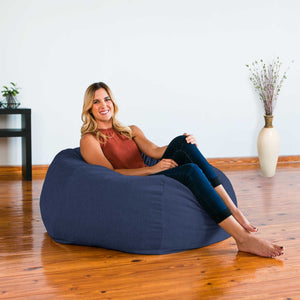 Navy Blue Chenille Jaxx Kiss Bean Bag Chair