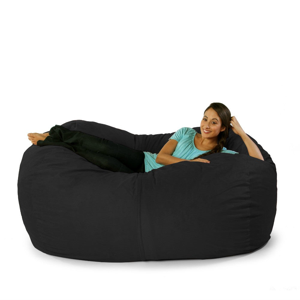 Black Microsuede 6 Foot Jaxx Lounger