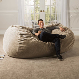 Beige Chenille 7 Foot Jaxx Lounger Bean Bag Chair