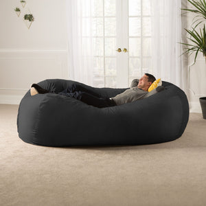 Black Microsuede 7 Foot Jaxx Lounger Bean Bag Chair