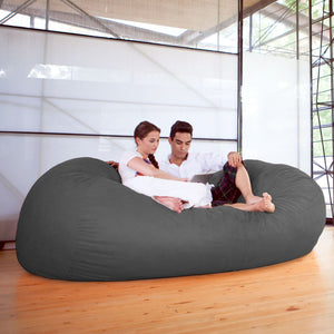 Charcoal Microsuede 7 Foot Jaxx Lounger Bean Bag Chair