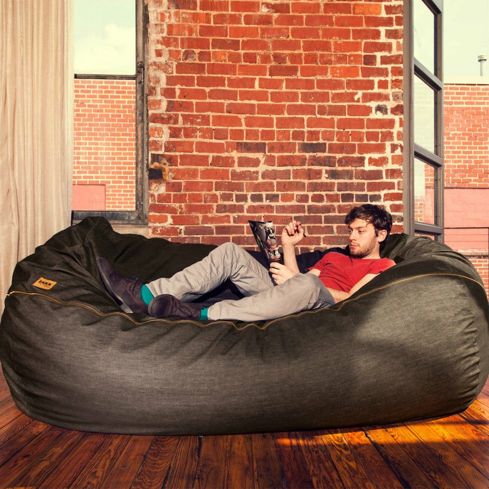 Black Denim Microsuede 7 Foot Jaxx Lounger