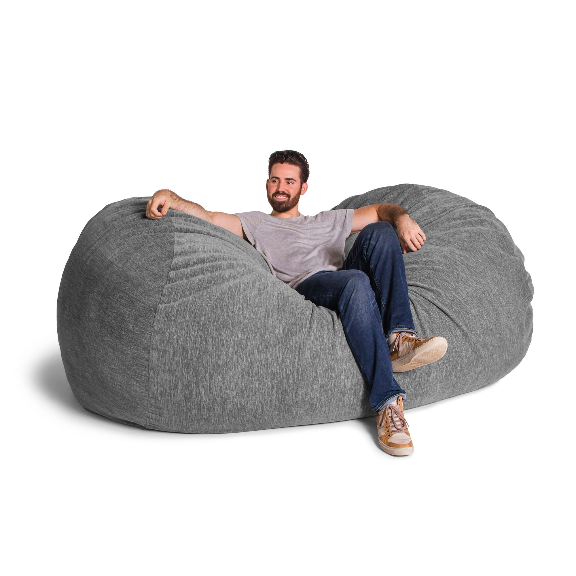 Grey Chenille 7 Foot Jaxx Lounger Bean Bag Chair
