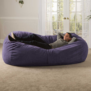 Plum Chenille 7 Foot Jaxx Lounger Bean Bag Chair