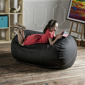 Black Cone Denim 4 Foot Jaxx Lounger Bean Bag Chair
