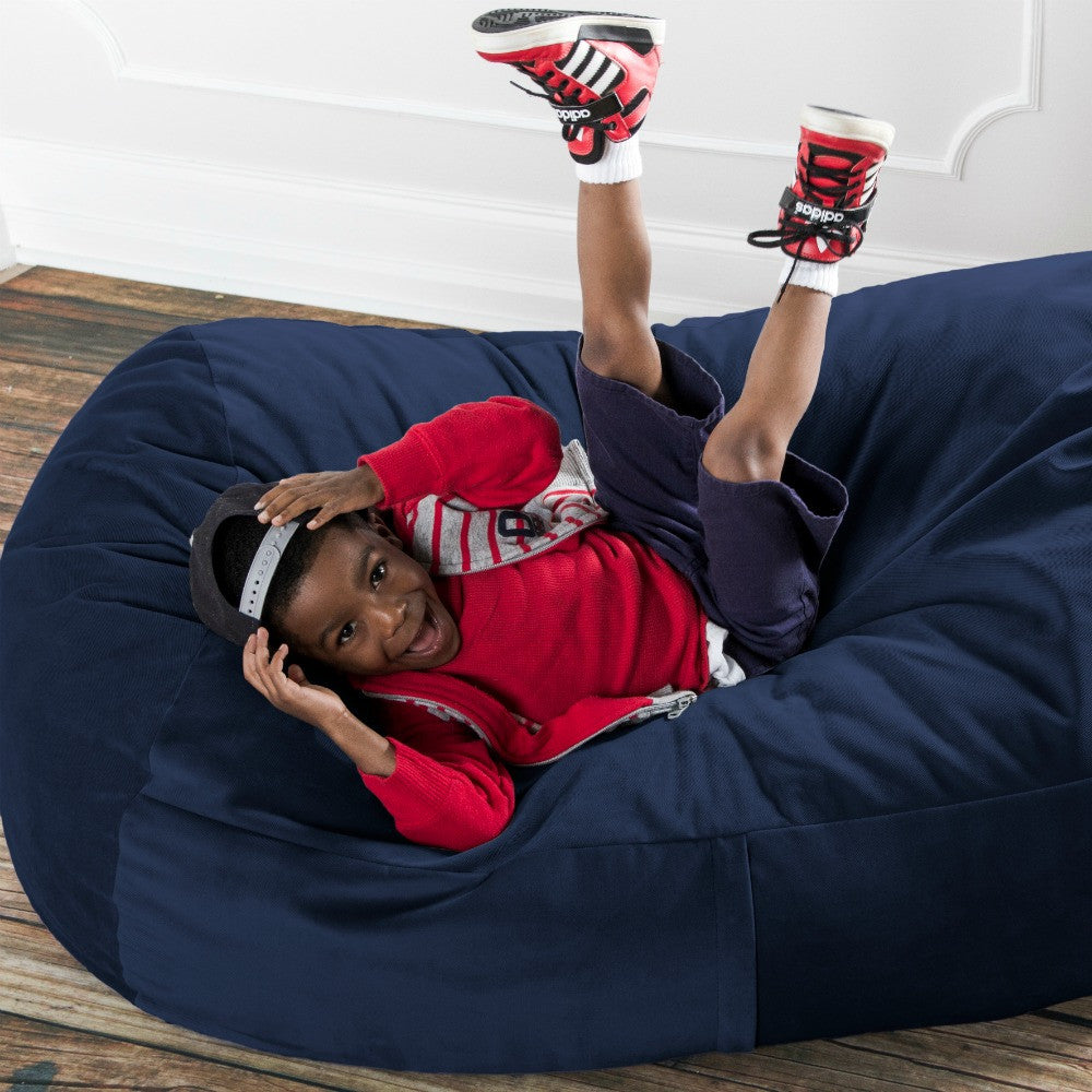 Navy Microsuede 4 Foot Jaxx Lounger Bean Bag Chair