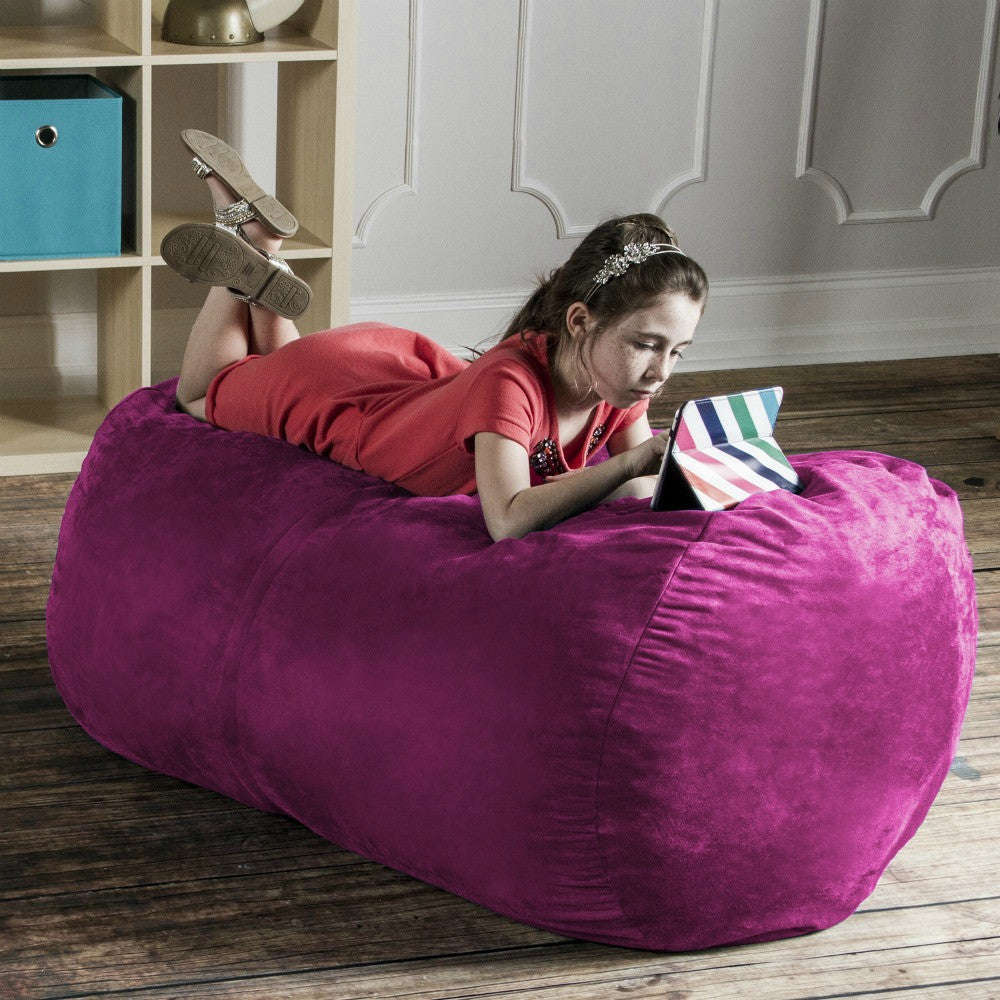 Fuchsia Microsuede 4 Foot Jaxx Lounger Bean Bag Chair