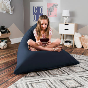 Dark Blue Cotton Jaxx Pivot Junior Bean Bag Chair