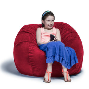 Cherry Microsuede 3 Foot Jaxx Sac Bean Bag Chair
