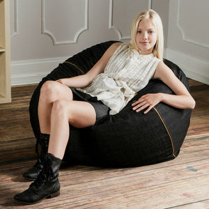 Black Cone Denim 3 Foot Jaxx Sac Bean Bag Chair