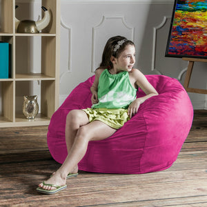 Fuchsia Microsuede 3 Foot Jaxx Sac Bean Bag Chair