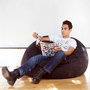 Black Microsuede 4 Foot Jaxx Sac Bean Bag Chair
