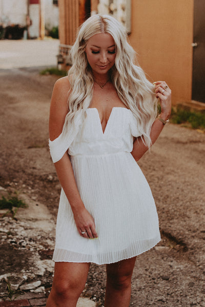 off shoulder pleated dress white