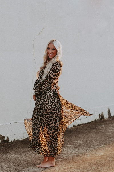 leopard chiffon maxi dress