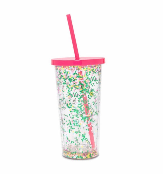 ban.do flower bomb glitter tumbler with straw