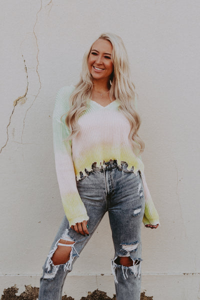 tie dye ombre distressed sweater