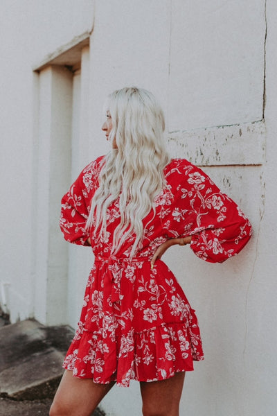 red/white floral long sleeve dress