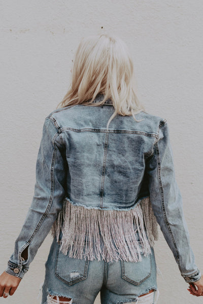 denim jacket with silver fringe