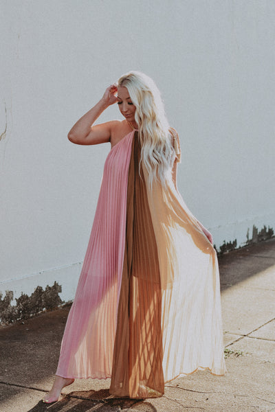 pink sands pleated maxi dress