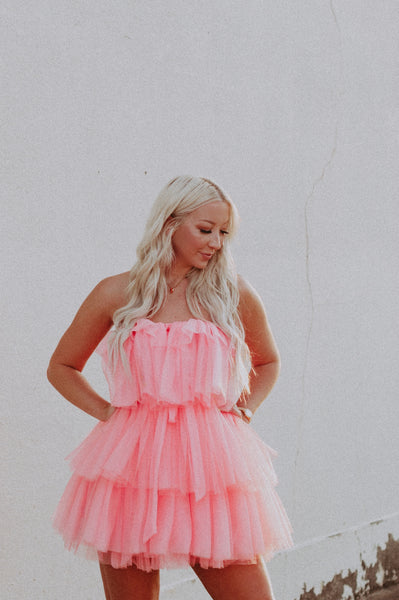 fluff off tulle mesh ruffle dress in coral pink