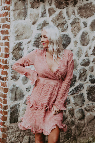crinkled chiffon ruffled dress in rose coral