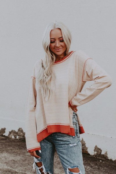 stripe french terry pullover coral