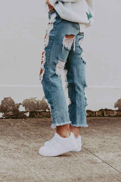 super destroyed boyfriend crop jean