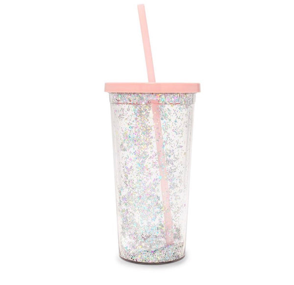 Ban.Do Sip Sip Tumbler with Straw Glitter Bomb Pink