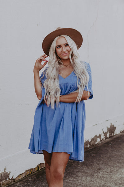 periwinkle blue babydoll dress