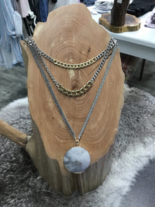 Multi Layered Necklace w/ Circle Pendant