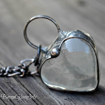 Clear Chunky Heart Necklace
