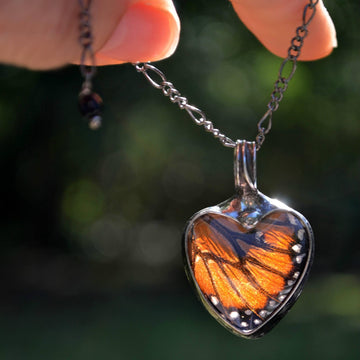 Handmade Monarch Butterfly Heart Necklace