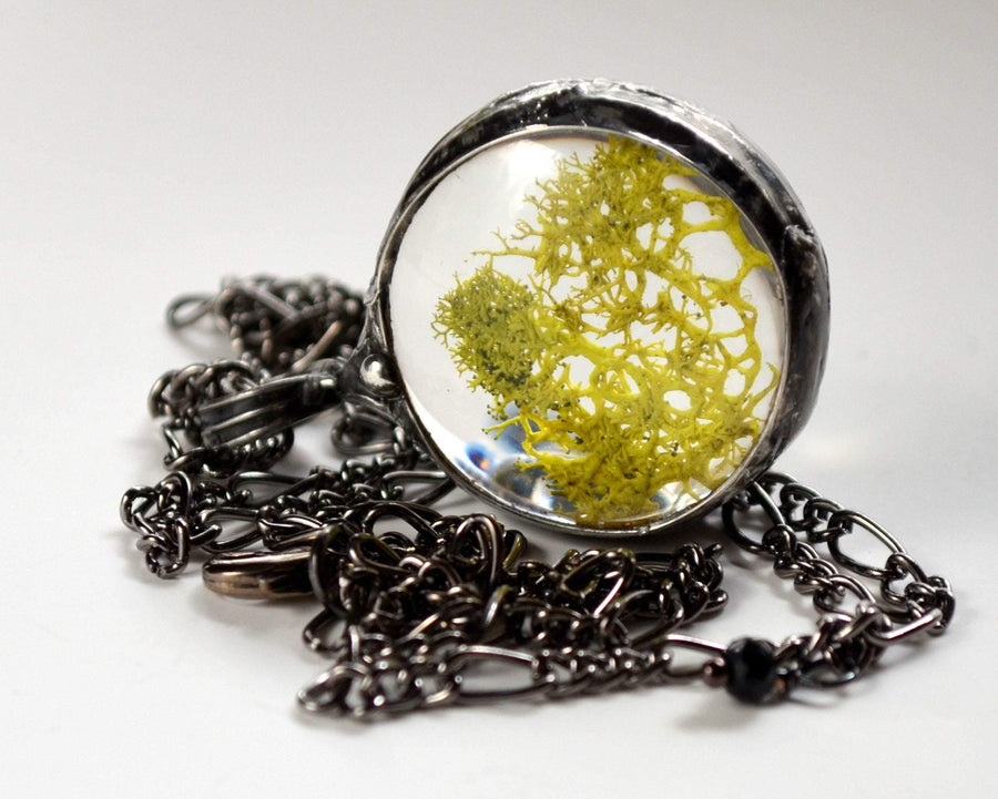 White with Green Moss Terrarium Necklace