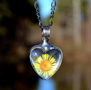 Yellow Aster Heart Pendant