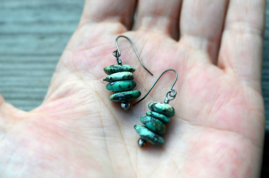 Turquoise Earrings in Hand