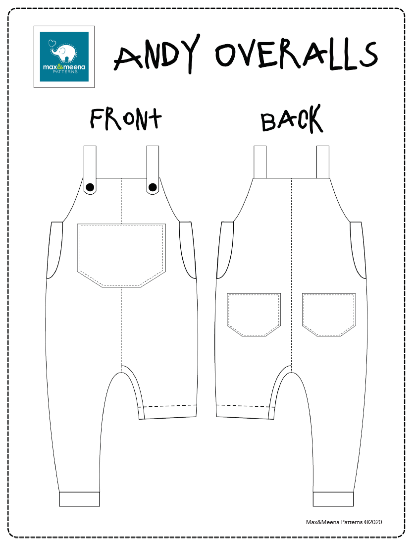 Andy Overalls -Sewing PDF Pattern- Projector/A0 File Included