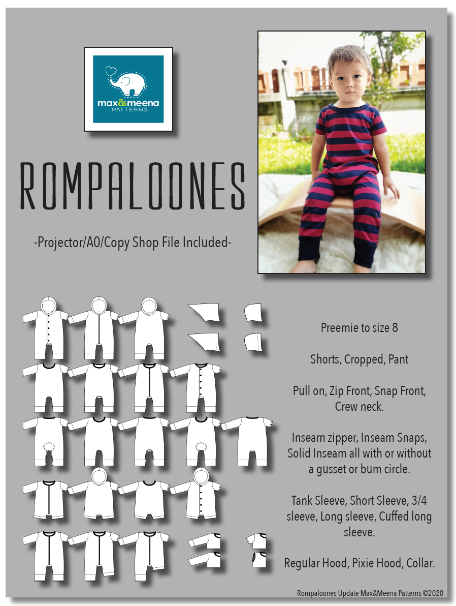 Rompaloones Sewing Patterm (PDF) -Projector/A0 Friendly-